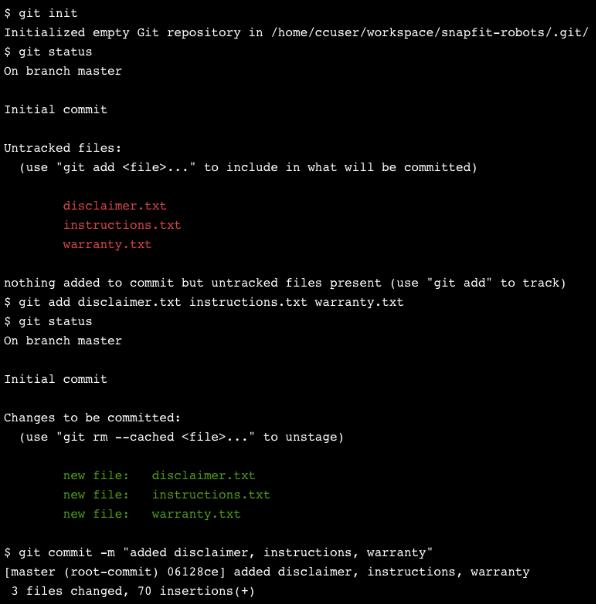 A command line containing instructions to commit changes to three files in a Git repository.
