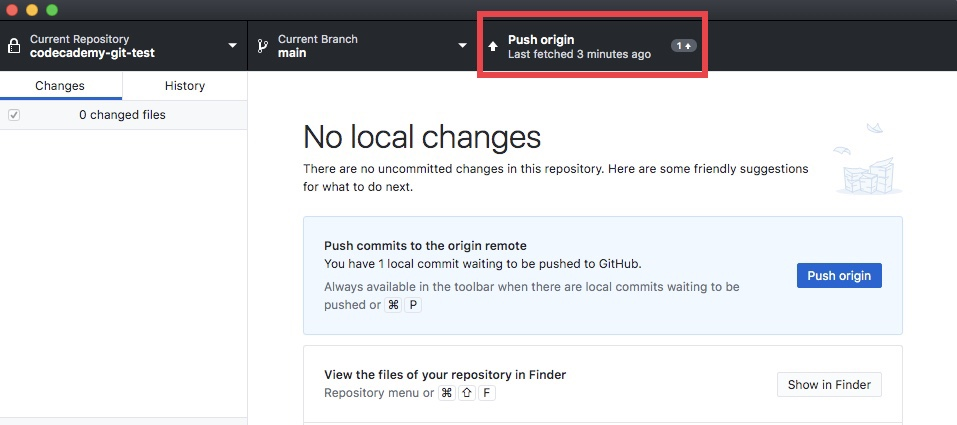 GitHub Desktop - Push Origin