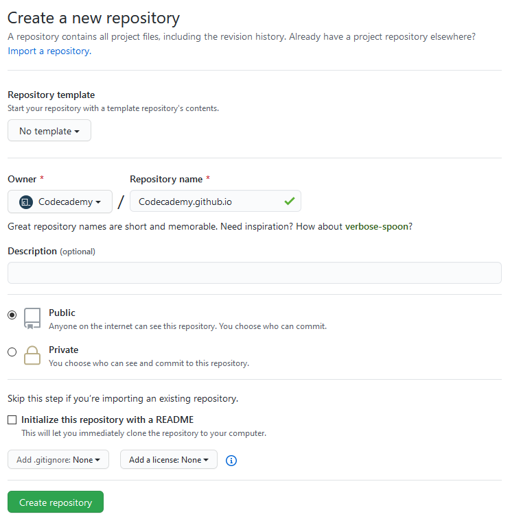 Screenshot of the create a new repository page