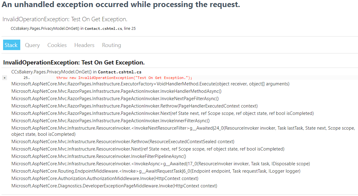 Example developer exception page: InvalidOperationException