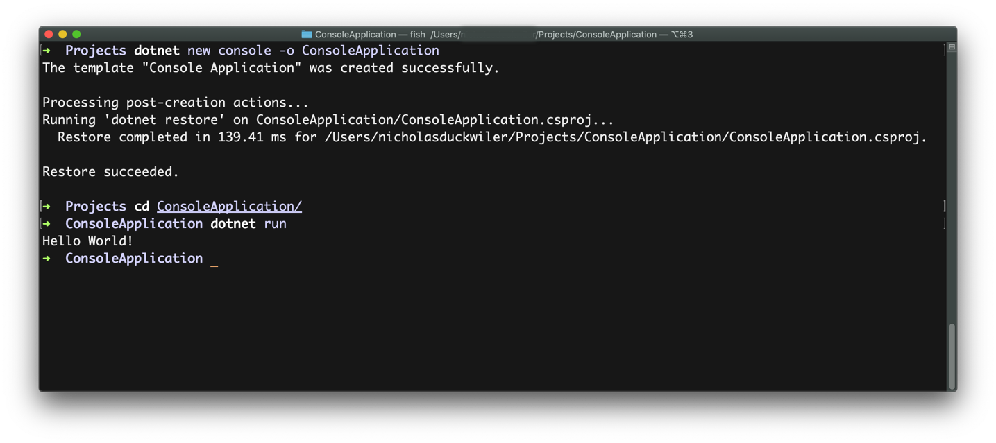 .NET SDK via command line interface
