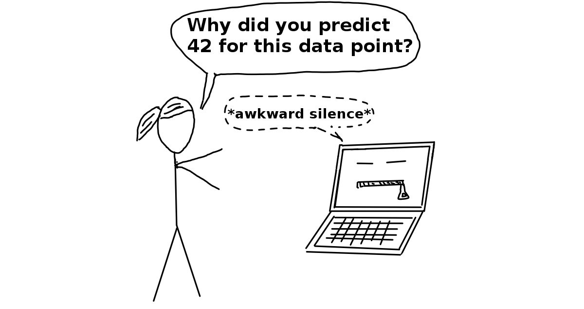 A cartoon of a woman trying to ask her computer why her algorithm outputted a certain result and the computer just does an awkward pause