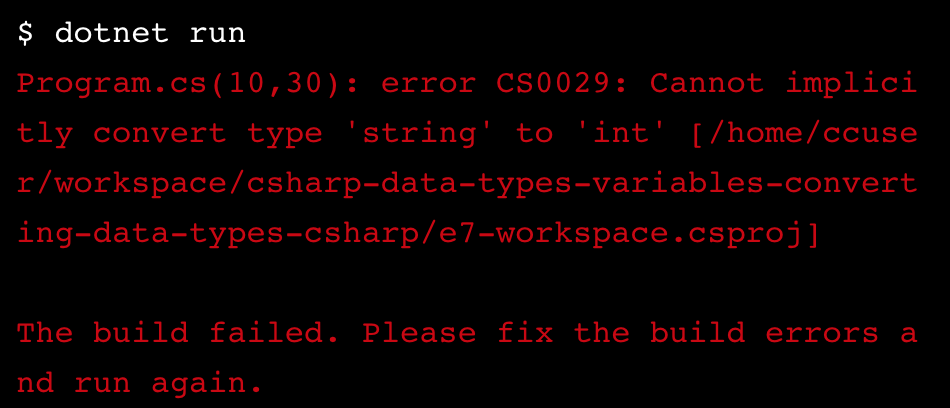 error: cannot implicitly convert type 'string' to 'int'. The build failed. Please fix the build errors and run again.