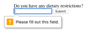 message pop up prompting user to fill in the field