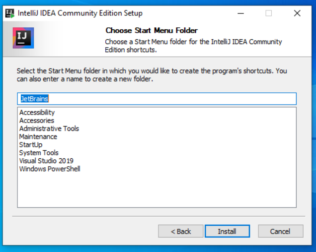 IntelliJ IDEA Start Menu Folder