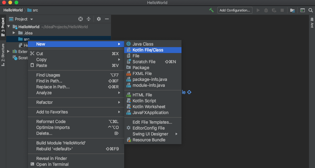 Create a new Kotlin file