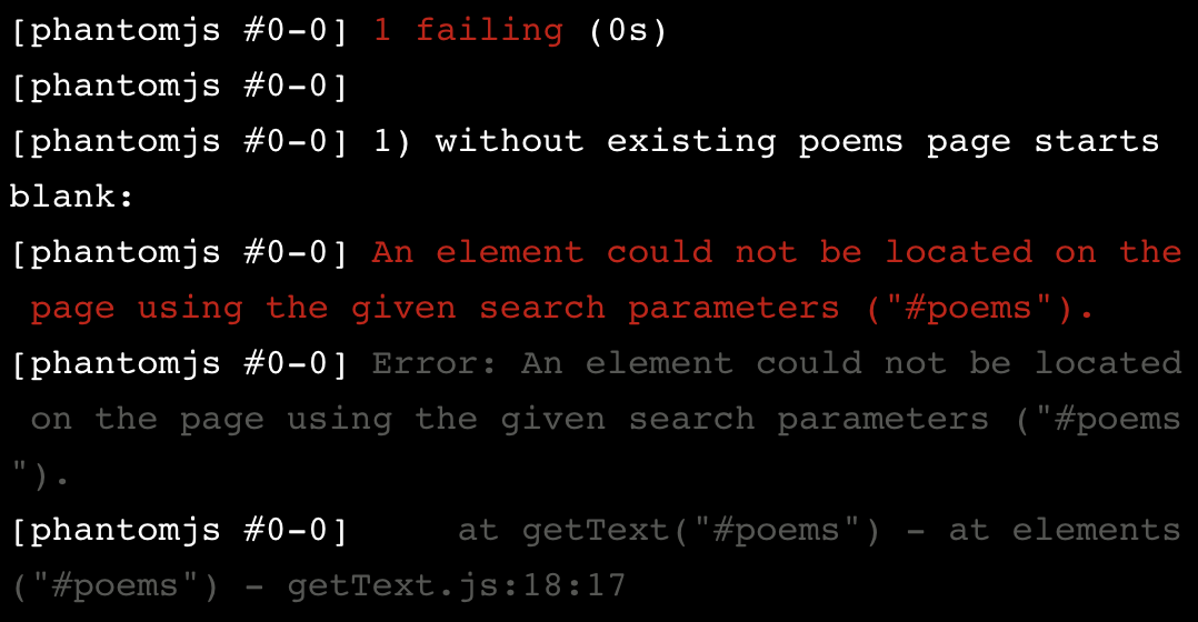Error: An element could not be located on the page using the given search parameters