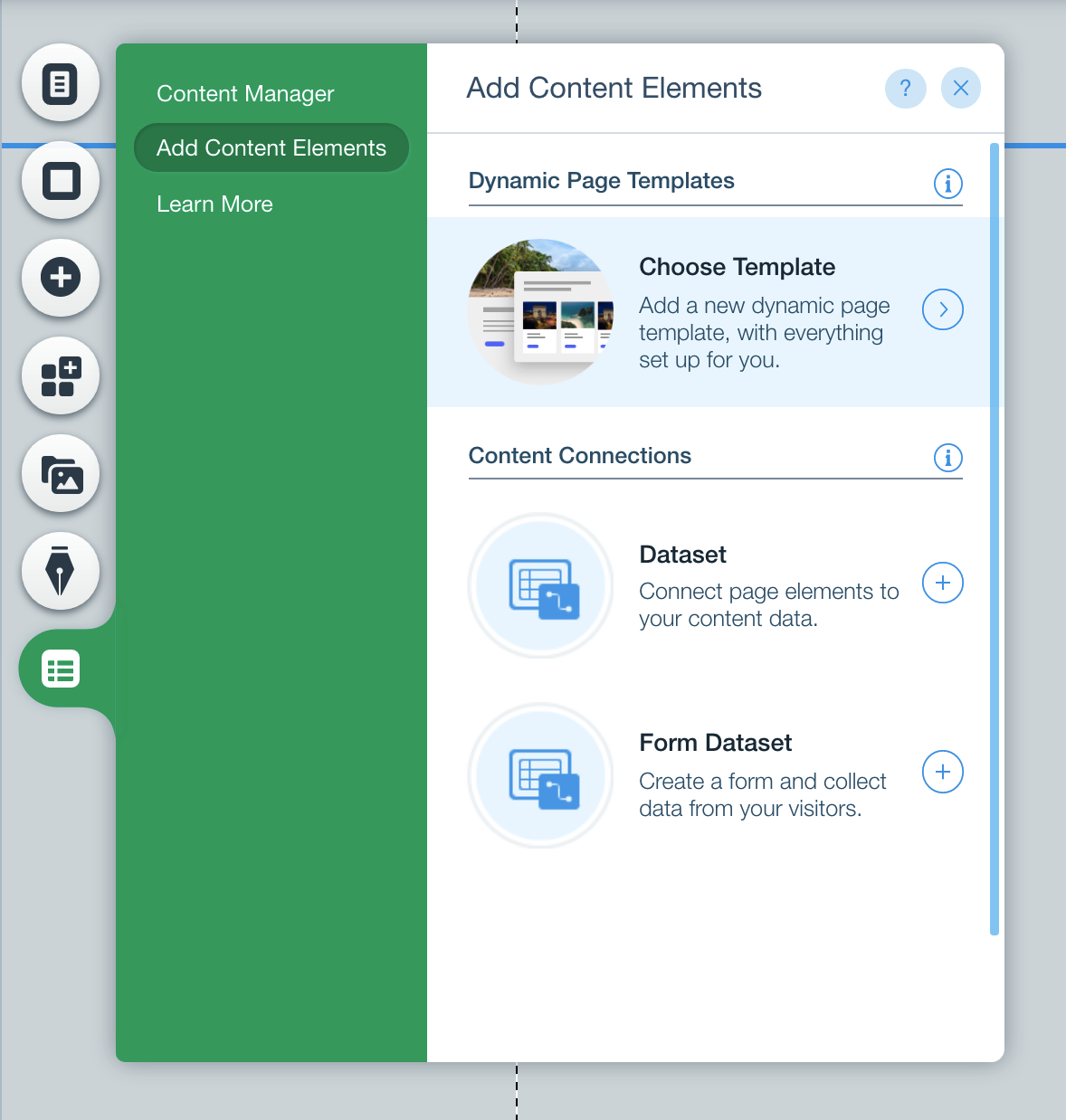 Wix Add Content Elements Menu