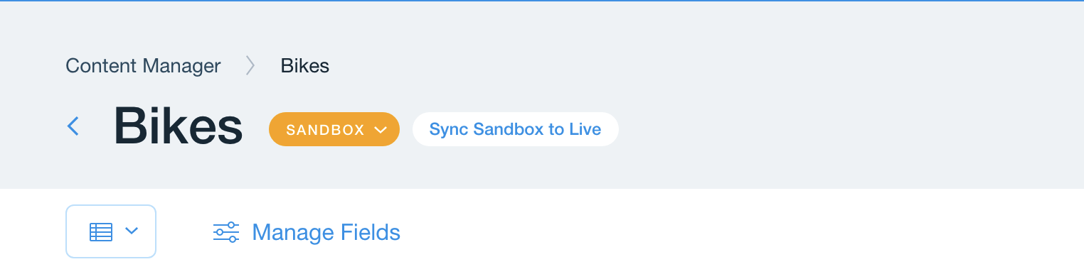 Top section of a collection showing that the Sandbox/Live dropdown selection