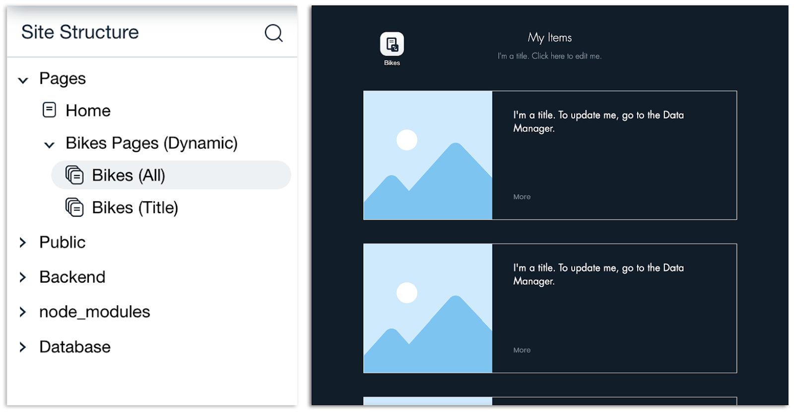 Wix Sidebar and Dynamic All Page