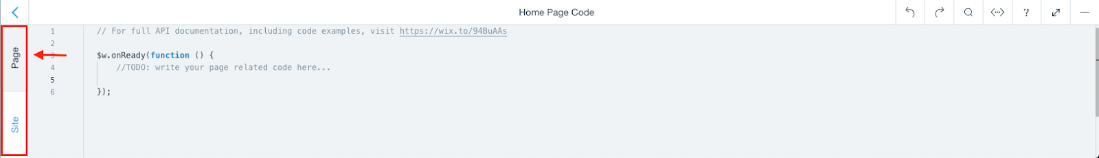 Wix Code Panel with tabs highlighted