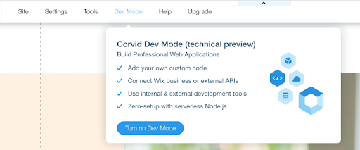 Wix Dev Mode Button