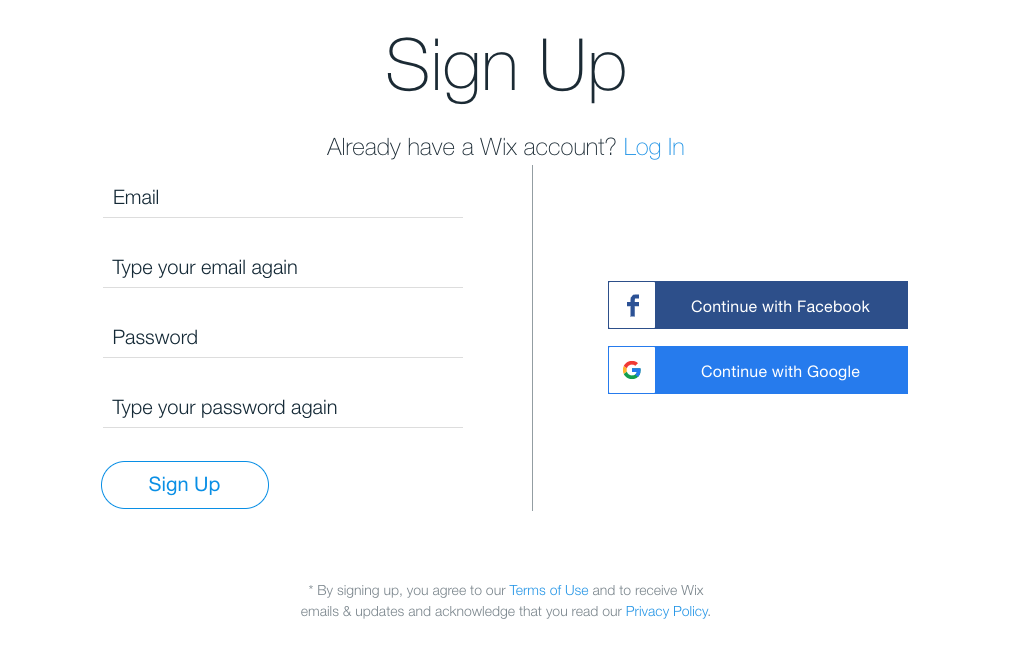 Wix's sign up page