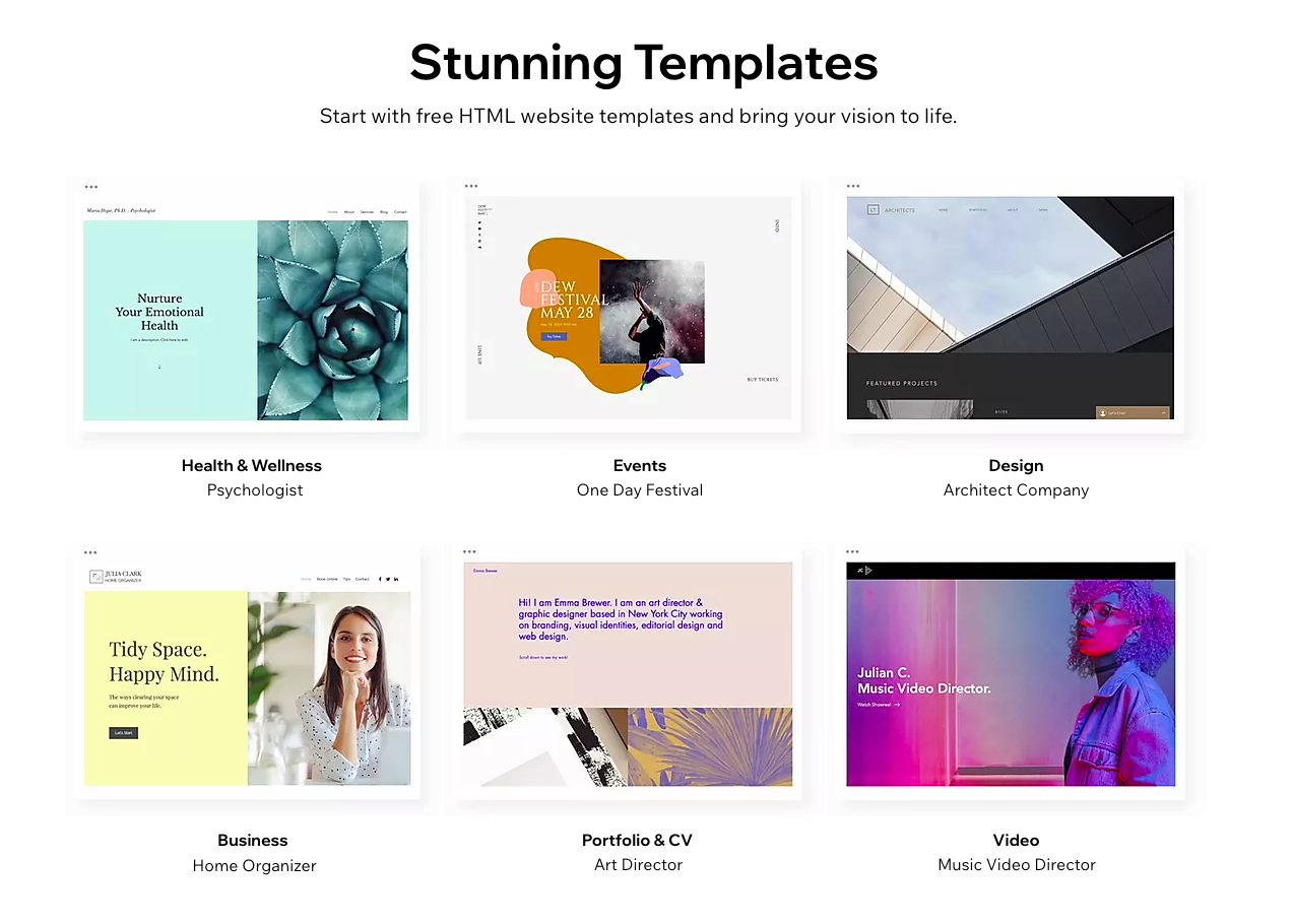 Images of templates to choose from on Wix.com