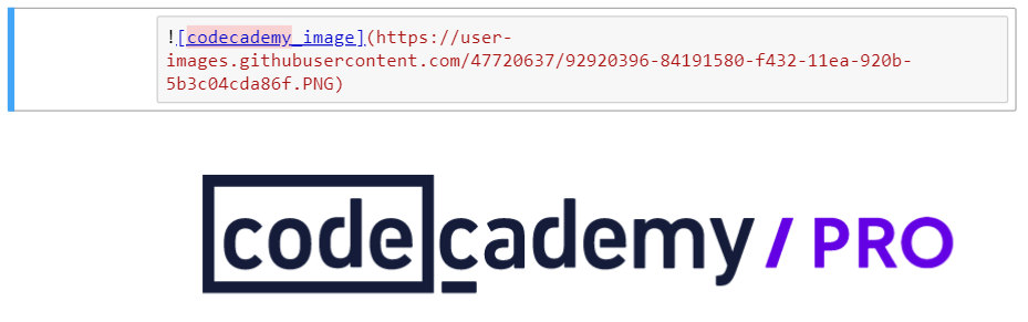 Image demonstrating code for adding an image in a markdown cell and an example of the resulting output of the codecademy logo.