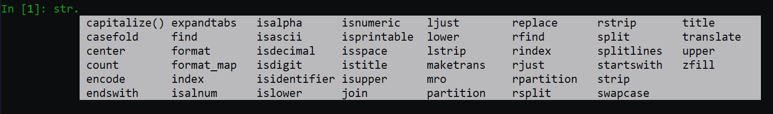 Image of python code in terminal demonstrating all the methods to be called on a string object.
