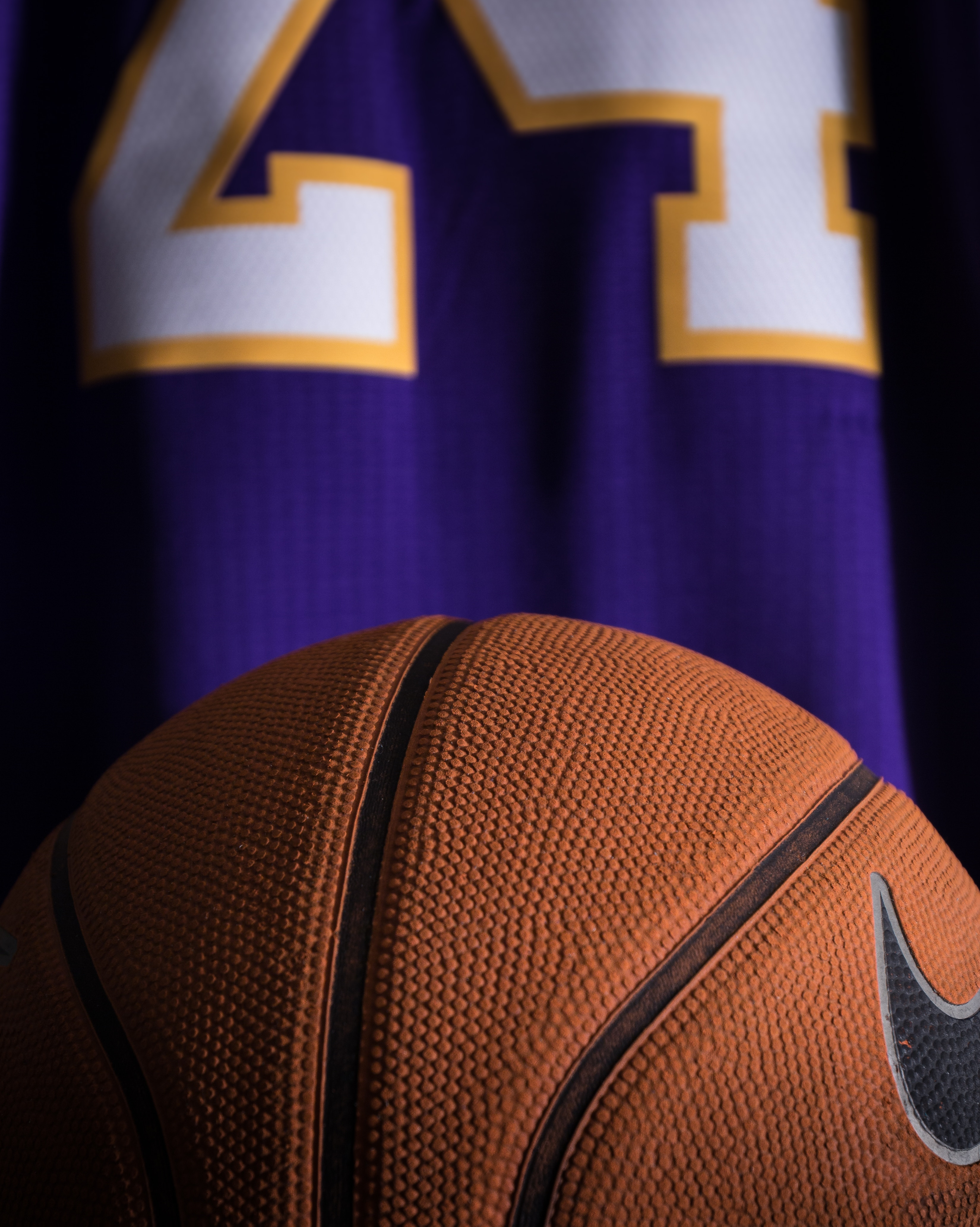 Lakers uniform showing contrast between purple and yellow