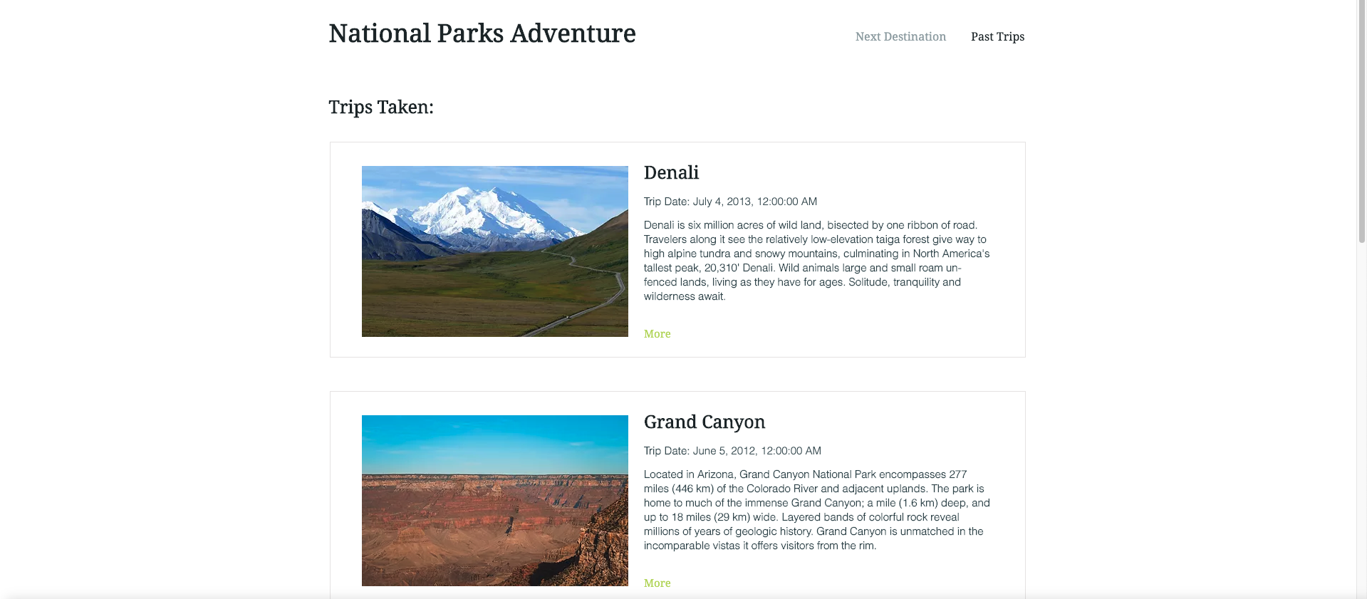 "Screenshot of the finished Project ""Datasets: National Parks Adventure"""
