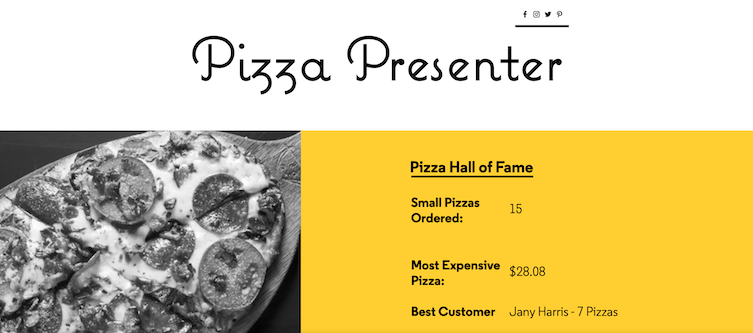 "Screenshot of the finished ""Backend: Pizza Presenter"" project"
