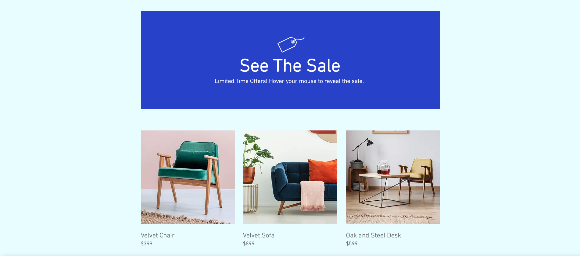 "Screenshot of the finished ""See the Sale"" project"